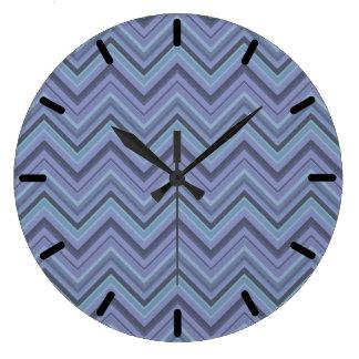 Blue-grey zigzag stripes wallclocks