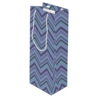 Blue-grey zigzag stripes wine gift bag