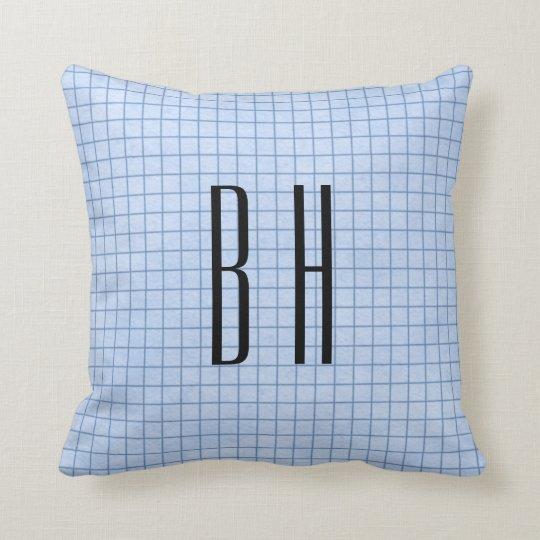 Blue Grid Monogram Throw Pillow