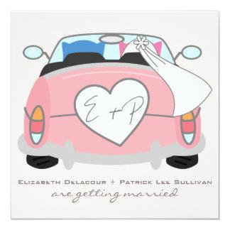 Blue Groom Owl & Pink Bride Owl Wedding Invitation