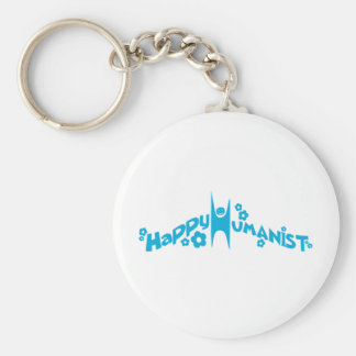 Blue Groovy Happy Humanist Basic Round Button Keychain