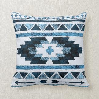 Blue Grunge Aztec Tribal Throw Pillow