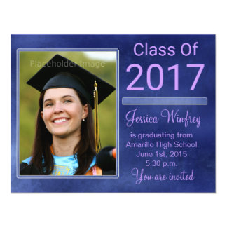 Blue Grunge Class of 2017 Graduation Photo Card