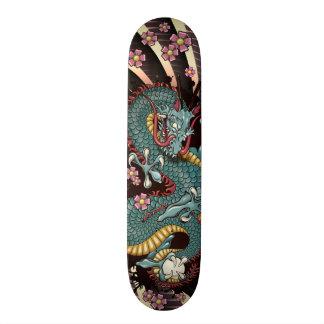 Blue Grunge Dragon Tattoo Skateboard