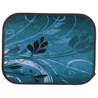 Blue Grunge Floral Auto Mat
