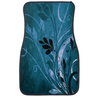 Blue Grunge Floral Floor Mat
