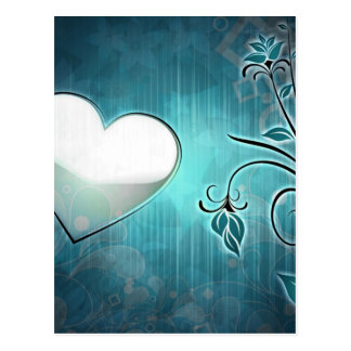 Blue Grunge Heart Postcard