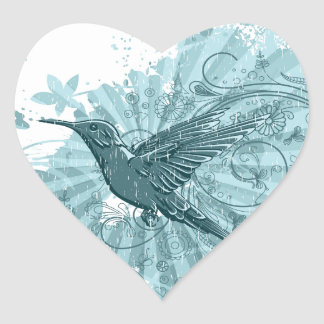 Blue Grunge Hummingbird Heart Sticker