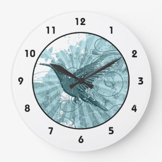 Blue Grunge Hummingbird Large Clock