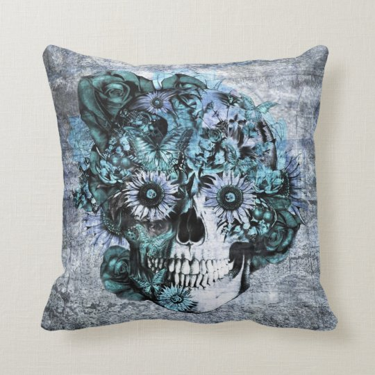 Blue grunge ohm sunflower skull throw pillow