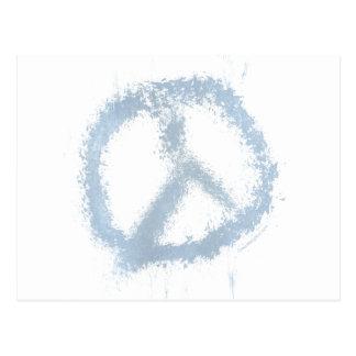 Blue Grunge Peace Sign Postcard