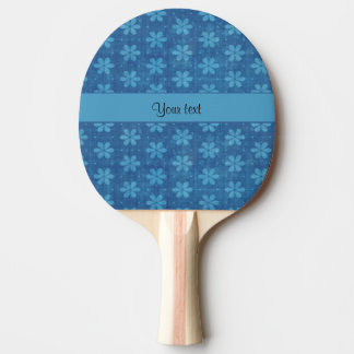 Blue Grungy Flowers Ping-Pong Paddle
