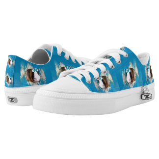 Blue Guinea Pig Blossoms, Lowtops Zipz Sneakers