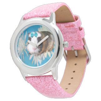 Blue Guinea Pig Flowers,Girls Pink Glitter Watch