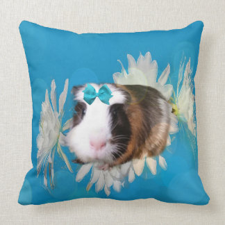 Blue Guinea Pig Flowers Large Throw Cushion. Throw Pillow