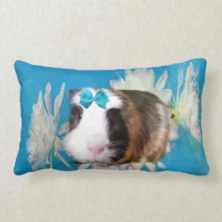 Blue Guinea Pig Flowers Lumbar Cushion. Lumbar Pillow