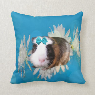 Blue Guinea Pig Flowers Throw Cushion. Throw Pillow