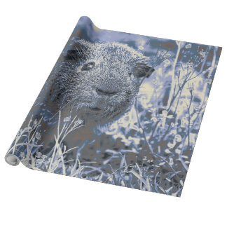 blue guinea pig wrapping paper