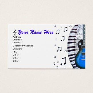 Blue Guitar Piano Keyboard & Notes Business Card