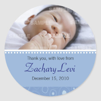 Blue Gumdrop Baby Message Round Sticker