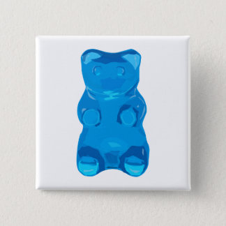 Blue Gummybear Illustration 2 Inch Square Button