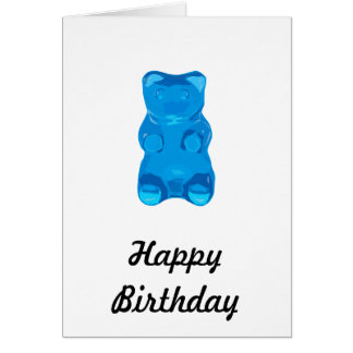 Blue Gummybear Illustration Card