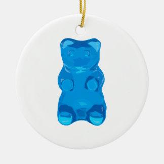Blue Gummybear Illustration Ceramic Ornament