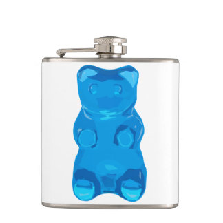 Blue Gummybear Illustration Hip Flask