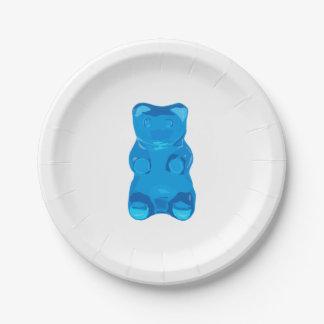 Blue Gummybear Illustration Paper Plate