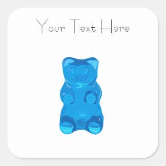 Blue Gummybear Illustration Square Sticker