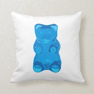 Blue Gummybear Illustration Throw Pillow