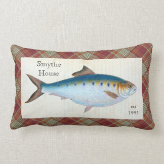 Blue Haddock Fish Plaid Tartan Lumbar Throw Pillow