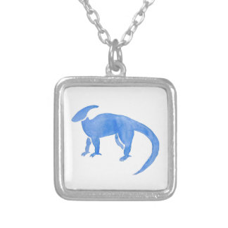 Blue Hadrosaur Silver Plated Necklace
