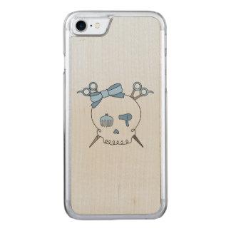 Blue Hair Accessory Skull -Scissor Crossbones #2 Carved iPhone 7 Case