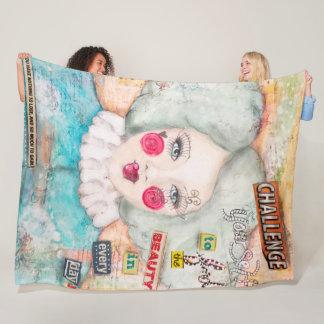 Blue Hair Clown Girl Artistic Cute Collage Art Fun Fleece Blanket