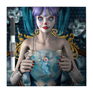 Blue hair clown model dry erase whiteboards