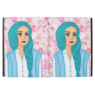 "Blue hair girl iPad pro 12.9"" case"