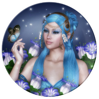 Blue hair girl with butterfly plate