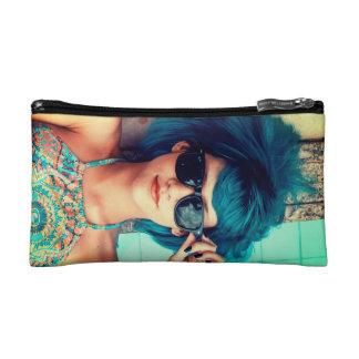 Blue Hair - Girl with Sunglasses - Retro Makeup Bag