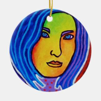 Blue Hair Lady Ceramic Ornament
