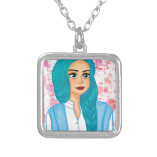Blue Hair Silver Plated Necklace