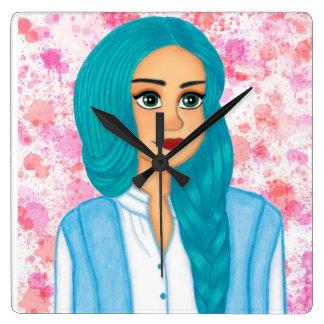 Blue hair square wall clock