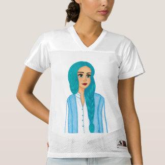 Blue hair women's football jersey
