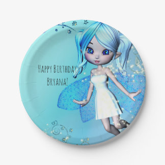 Blue Haired Fairy Girls Birthday Party 7 Inch Paper Plate
