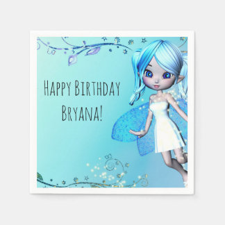 Blue Haired Fairy Girls Birthday Party Disposable Napkins