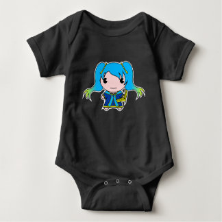 Blue Haired Maiden with Stringed Instrument Baby Bodysuit