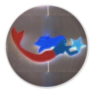 blue-haired  mermaid ceramic knob