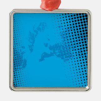 Blue Halftone and Paint Splatter Silver-Colored Square Ornament