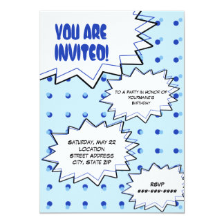 "Blue Halftone Pop Art Comic Inspired Invitation 5"" X 7"" Invitation Card"