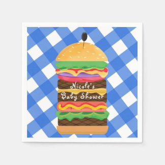 Blue Hamburger Summer Cookout Barbecue BBQ Party Paper Napkin